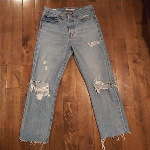 Levi's wedgie straight distressed jeans 27